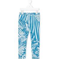 Roberto Cavalli Junior Calça Legging Animal Print - Azul