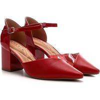 Scarpin Ramarim Chanel Recortes Salto Grosso Feminino - Feminino-Vermelho