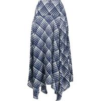 Rixo Maggie Checked Asymmetric Skirt - Azul