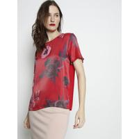 Blusa Acetinada Com Tag- Vermelha & Rosa- Forumforum