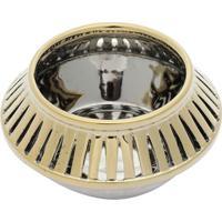 Vaso Decorativo Com Vazados- Cinza & Dourado- 8Xã˜15Crojemac