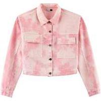 Jaqueta Feminina Em Sarja Tie Dye Rosa