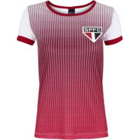 Camiseta Do São Paulo Stripe 19 - Feminina - Branco/Vermelho