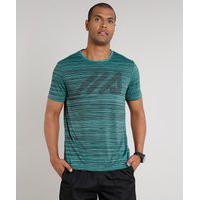 Camiseta Masculina Esportiva Ace Mescla Com Logo Manga Curta Gola Careca Verde