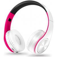 Fone De Ouvido Bluetooth Dobrável - Branco E Rosa