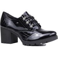 Sapato Dakota Oxford Verniz Salto Grosso Tratorado