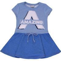 Vestido Authoria Compose Manga Curta - Authoria - Feminino-Azul