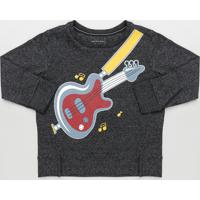 Camiseta Infantil Guitarra Manga Longa Preta Mescla