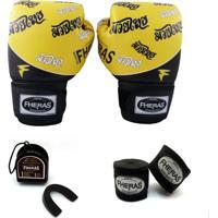 Kit Boxe Muay Thai Top - Luva Bandagem Bucal -14 Oz Tailandês