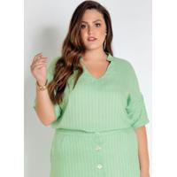 Blusa Plus Size Verde Listrada Decote V Com Gola