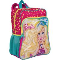Mochila Grande Com Bolso Barbie 19M Plus Infantil Sestini - Feminino-Rosa+Verde