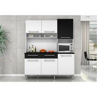 Kit Cozinha Compacta Valéria Com Paneleiro Branco Com Preto - Poquema