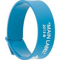 Off-White Pulseira Fina Label - Azul