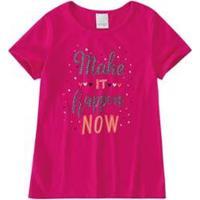 Blusa Infantil Ampla Estampada Malwee Kids Feminina - Feminino-Rosa Escuro