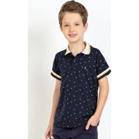 Camisa Polo Infantil Com Gola Listrada Marinho