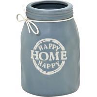 """Vaso Decorativo """"Happy Home""""- Cinza & Off White- 17,Mabruk"""