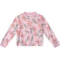 Jaqueta Rosa Bomber Floral Em Moletinho