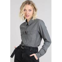 6412ee7c89 CEA  Camisa Jeans Feminina Mindset Com Bolsos Manga Longa Preta