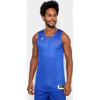 Regata Adidas Treino Reversível Dupla Face Masculina - Masculino-Azul+Branco