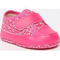 Tênis Com Recortes & Velcro- Pink & Branco- Ticco Batico Baby