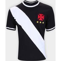 Camiseta Vasco Retrô 1972 Masculina - Masculino-Preto