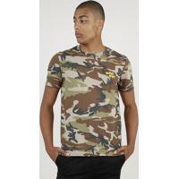 Camiseta Masculina Estampada Camuflado Manga Curta Gola Careca Verde Militar