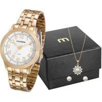 Relógio Feminino Mondaine Analógico 83348Lpmvde1Kz Com Colar E Brinco - Feminino-Dourado