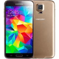 "Smartphone Samsung Galaxy S5 4G - Dourado - 16Gb - Tela Hd 5.1"" -Android 4.4"