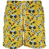 Short Bidoo Cerveja, Churrasco E Futebol Masculino - Masculino-Amarelo