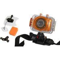 Câmera Filmadora De Ação Hd Vivitar Dvr783 + Kit P/ Surf Laranja