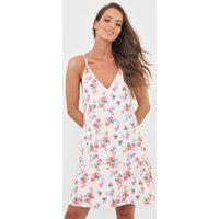 Vestido Fiveblu Curto Floral Off-White/Rosa