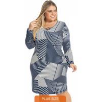 Vestido Feminino Estampa Geométrica Azul