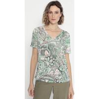 Blusa Floral Com Recortes- Verde & Rosa- Cotton Colocotton Colors Extra