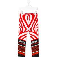 Roberto Cavalli Junior Legging Com Estampa De Zebra - Vermelho