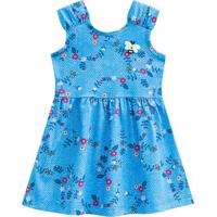 Vestido Floral- Azul & Rosa- Primeiros Passos- Bbrandili