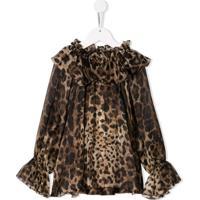 Dolce & Gabbana Kids Blusa Com Babados - Marrom