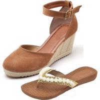 Kit Sandálias Ousy Shoes Anabella Mais Rasteirinha Caramelo