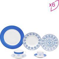 Aparelho Jantar High- Branco & Azul- 42Pçswolff