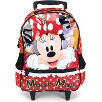 Mochila Escolar Infantil Disney Xeryus Com Rodas 16 Minnie Its All About Minnie - Feminino-Vermelho