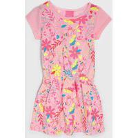 Vestido Kamylus Infantil Florido Rosa/Amarelo