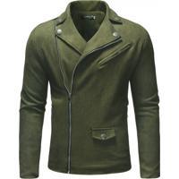 Jaqueta Masculina Couro - Verde Exército Xg