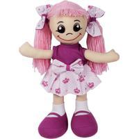 Boneca De Pano Luli - Roxa & Rosa Claro- 51,5X37,5X1Papo De Pano