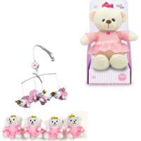 Móbile + Urso Princesa De Pelúcia 30Cm - Unik Toys Rosa