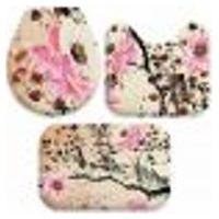 Jogo Tapetes Para Banheiro Pintura Flores Único 40X60