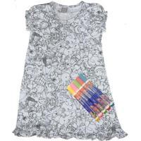Camisola Infantil Win Design De Pintar - Feminino-Cinza