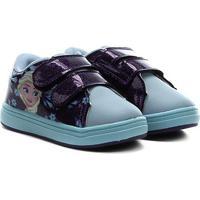 Tênis Infantil Disney Velcros Frozen Gliter Feminino - Feminino-Roxo