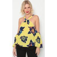 Blusa Floral- Amarela & Azul Escuro- Morena Rosamorena Rosa
