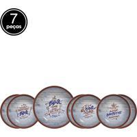 Jogo 7Pçs Pratos Temáticos Scalla Churrasco Branco