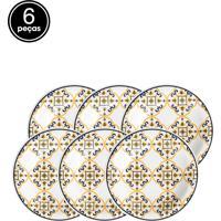 Conjunto De Pratos Fundos Oxford Cerâmica Floreal São Luís 6 Pçs Branco/Azul/Amarelo