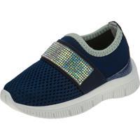 Tênis Jogging Joys Shoes Calce Fácil Enfeite Strass Azul